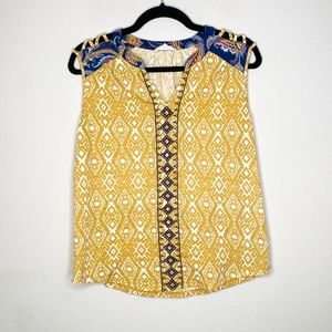 THML Yellow Embroidered Sleeveless Blouse Large